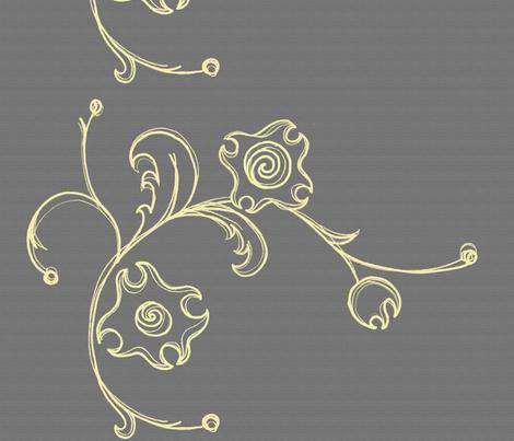 chalkboard flower border fabric by ali_c on Spoonflower - custom fabric