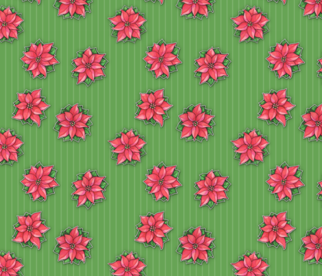 Poinsettia Joy Green Stripes small