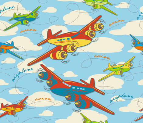 Retro Toy Planes fabric by retrorudolphs on Spoonflower - custom fabric