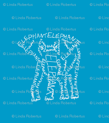 Elephant Calligram White on Blue