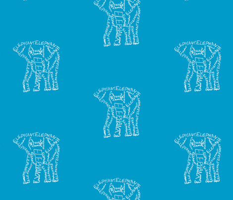 Elephant Calligram White on Blue fabric by blue_jacaranda on Spoonflower - custom fabric