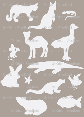 Animals Around the World in Grey and White