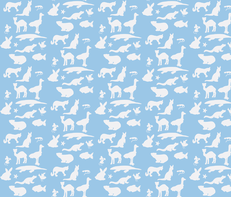 Animals Around the World in Blue and White fabric by kbexquisites on Spoonflower - custom fabric