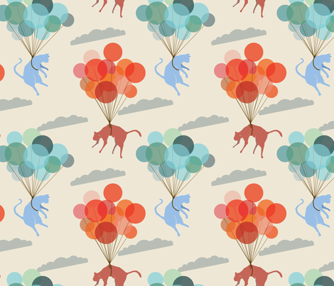 Balloon Cats fabric by edlasher on Spoonflower - custom fabric