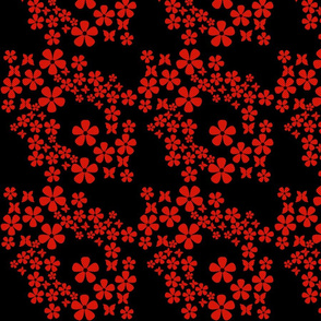 swiss_dots_floral - butterfly- red, black
