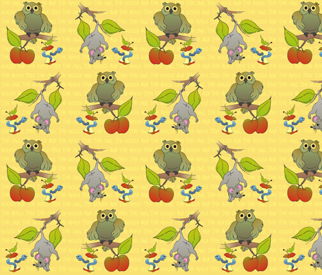 The Owl the Mouse and the Apple Tree fabric by tat1 on Spoonflower - custom fabric