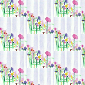STRIPES AND FLOWERS in Blue Designed Smaller