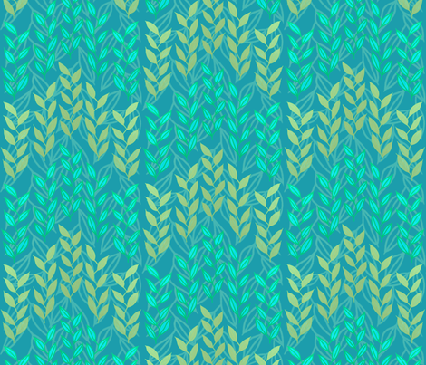 Aqua and bronze sea grasses by Su_G  fabric by su_g on Spoonflower - custom fabric