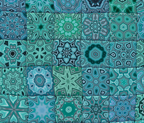 Quilt - Floral - Turquoise fabric by bonnie_phantasm on Spoonflower - custom fabric