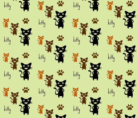kitty 2 fabric by zippyartist on Spoonflower - custom fabric