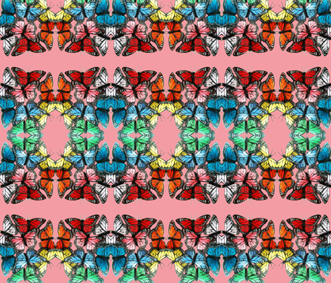 butterflies at night pink 2 fabric by roly_poly_bat_faced_girl on Spoonflower - custom fabric
