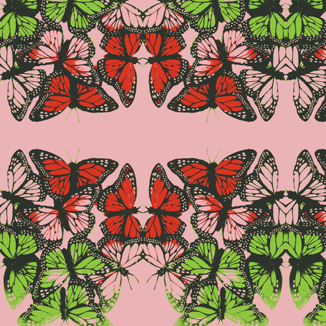 butterflies at night pink 4 fabric by roly_poly_bat_faced_girl on Spoonflower - custom fabric