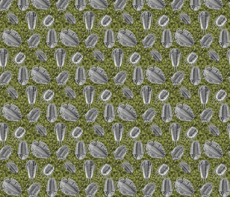 trilobites_green fabric by craftyscientists on Spoonflower - custom fabric