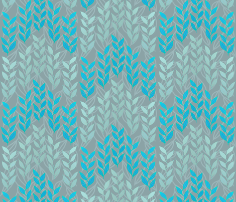 Silver and blue grasses on gray fabric by su_g on Spoonflower - custom fabric