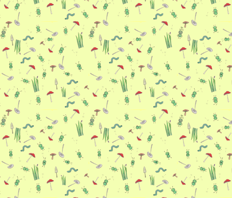 benjabug ditsy on yellow fabric by glindabunny on Spoonflower - custom fabric