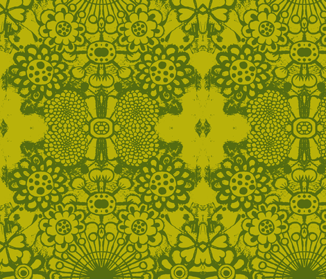 big blousey flowers, mustard/green fabric by eat_my_sweet_dust on Spoonflower - custom fabric