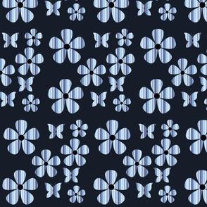 stripe - floral - butterfly