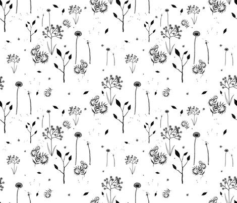 beautiful weeds on white fabric by glindabunny on Spoonflower - custom fabric