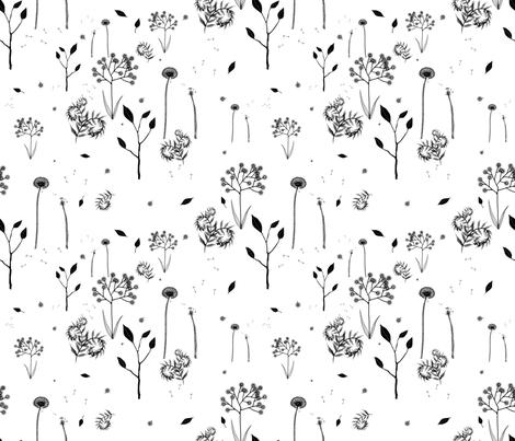 beautiful weeds on white fabric by glindabunny on Spoonflower - custom fabric