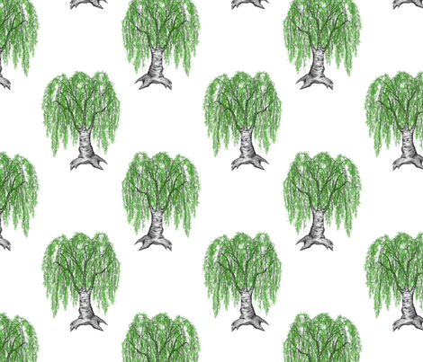 weeping cutleaf birch fabric by glindabunny on Spoonflower - custom fabric