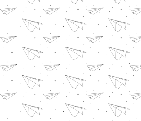 avion_de_papier_3 fabric by nkt on Spoonflower - custom fabric