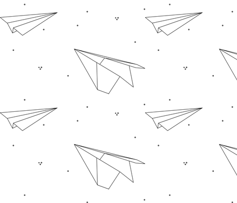 avions de papier fabric by nkt on Spoonflower - custom fabric