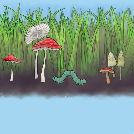 inchworm_mushrooms_and_grass fabric by glindabunny on Spoonflower - custom fabric