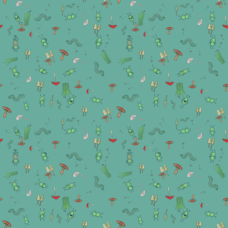 ditsy_aqua_green fabric by glindabunny on Spoonflower - custom fabric