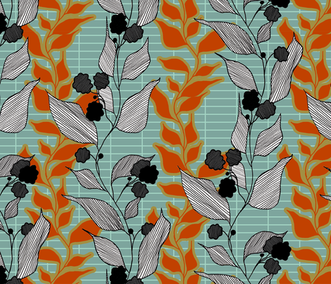 lined_leaves_1 fabric by lauradejong on Spoonflower - custom fabric