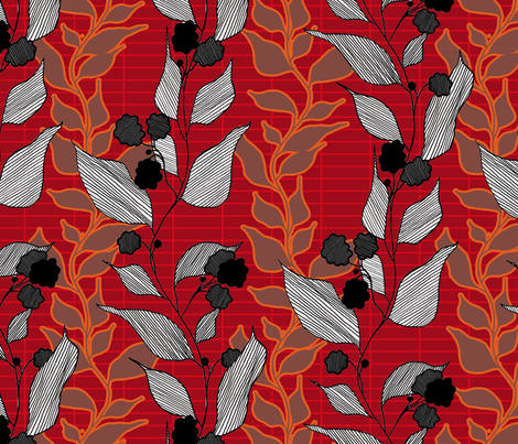 lined_leaves_4 fabric by lauradejong on Spoonflower - custom fabric