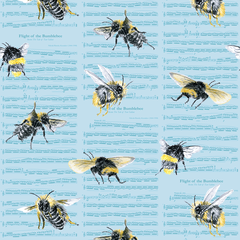 flight of the bumblebee - small blue fabric by weavingmajor on Spoonflower - custom fabric