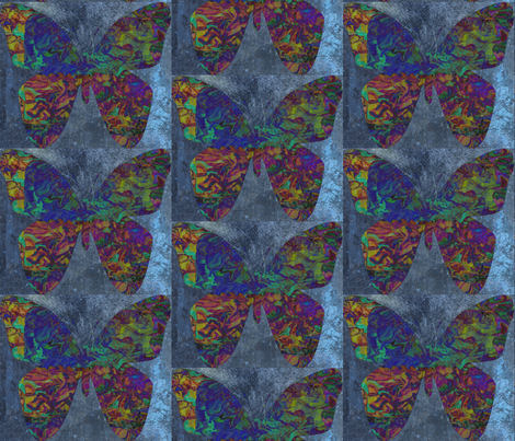 Iridescent Butterfly in Blue in a Half Drop Repeat fabric by anniedeb on Spoonflower - custom fabric