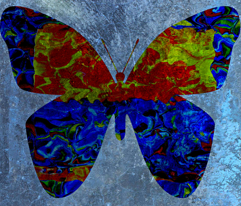 Circus Butterfly in Blue (large scale design) fabric by anniedeb on Spoonflower - custom fabric