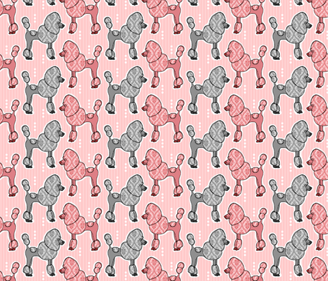 Prized Poodles - Pink & Pewter fabric by dianef on Spoonflower - custom fabric