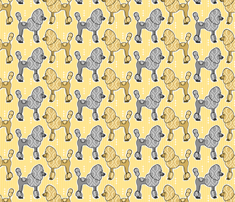 Prized Poodles - Sunshine & Pewter fabric by dianef on Spoonflower - custom fabric
