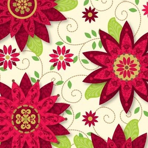Patterned Poinsettias