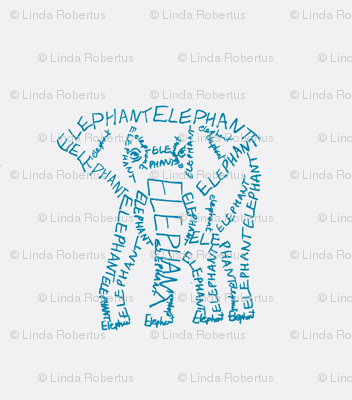 Elephant Calligram Blue on White