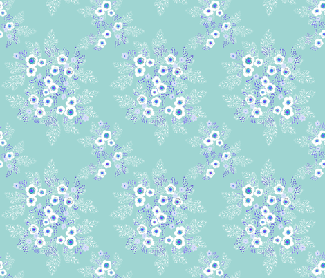 turquoise_enamel_flowers fabric by atomic_bloom on Spoonflower - custom fabric
