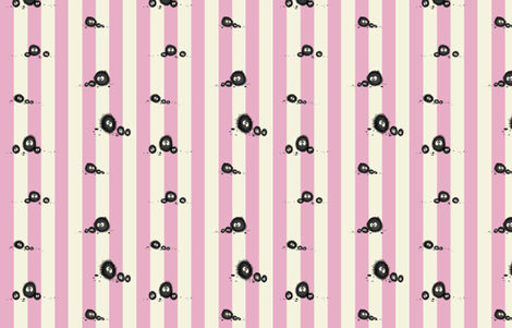 Pink totoro soot sprites stripe! fabric by retropopsugar on Spoonflower - custom fabric