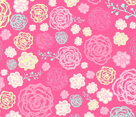 Pink roses fabric by antonela_del_vecchio on Spoonflower - custom fabric