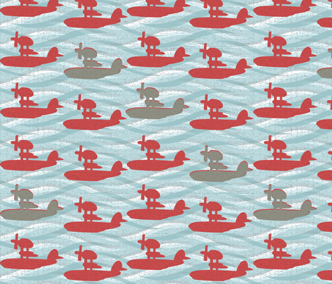 Soaring Seaplanes fabric by uzumakijo on Spoonflower - custom fabric