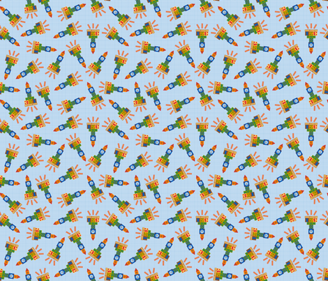 Blast Off - Rocket Ships fabric by madex on Spoonflower - custom fabric