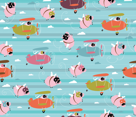 Pigs love to fly! fabric by cynthiafrenette on Spoonflower - custom fabric