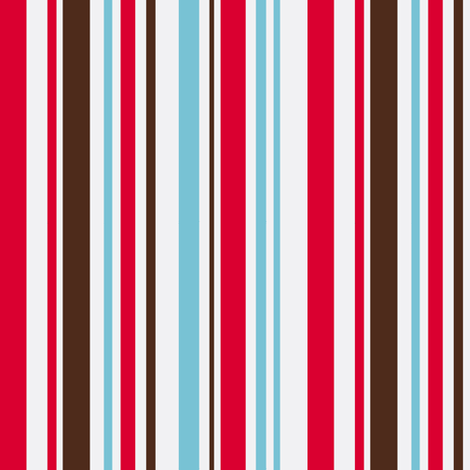 Aqua, red and brown stripe final revision fabric by pinkbrain on Spoonflower - custom fabric