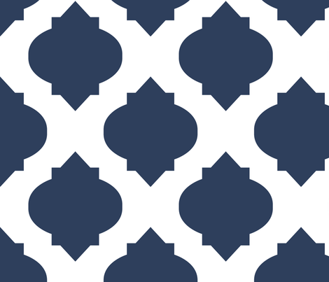 Medallions in Navy REVERSE fabric by katphillipsdesigns on Spoonflower - custom fabric