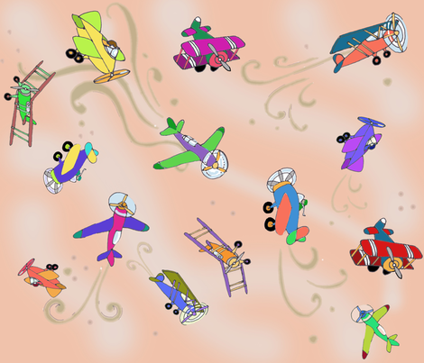 flyin_around_fabric fabric by maliuana on Spoonflower - custom fabric