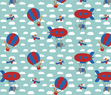 Airborne animals fabric by studioformo on Spoonflower - custom fabric