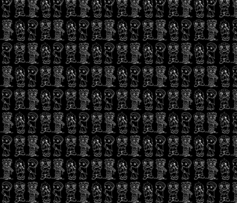 Monster_pattern_black fabric by smart_cats on Spoonflower - custom fabric