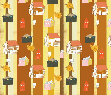 autumn_houses fabric by littleredbirdie on Spoonflower - custom fabric