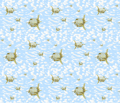 Blue Sky Blimps fabric by the_fretful_porpentine on Spoonflower - custom fabric